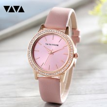Niohuru Luxury fashion casual gold women watches bracelet Women's Geneva Roman Numerals Faux Leather Analog Quartz Watch VA-102 цена в Москве и Питере