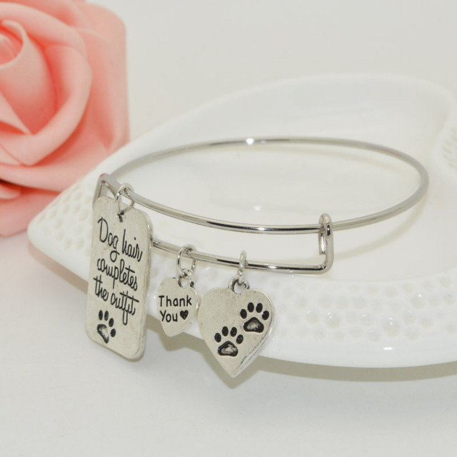 Dog Lover's Adjustable Wire Dog Paw Charm Bracelet
