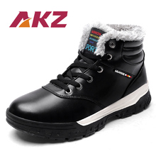 AKZ 2018 New Arrival Men's Ankle Boots Winter Warm Snow boots High Quality Male Work boots Round toe Lace-up Big size 39-48 стоимость