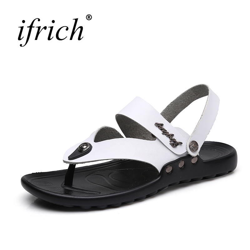Mens Mens Sandals Flip Flops Summer Leather Sandals Slip-on Mans Shoes Large Sizes 38-46 Comfortable Sandals for Male