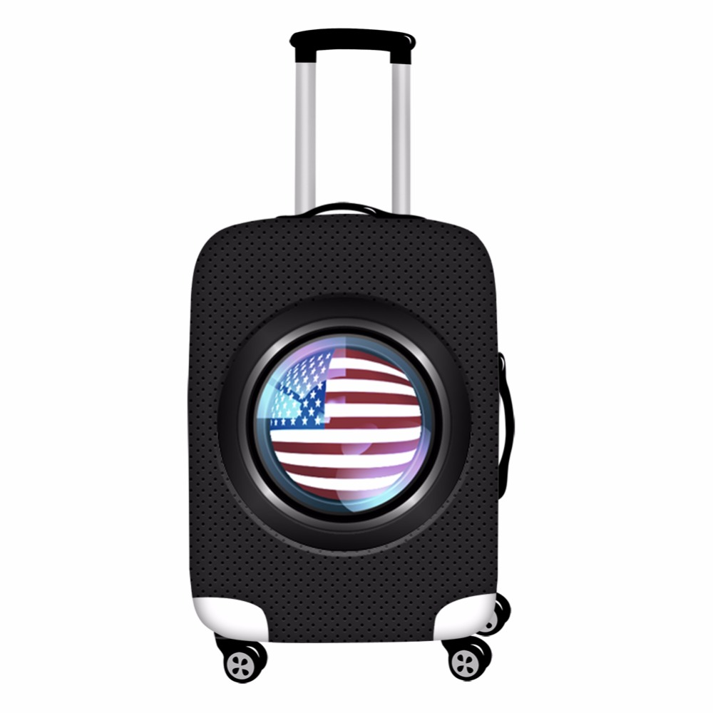 FORUDESIGNS Cool USA Camera Print Luggage Cover Protector Dogs Flags Elastic 18-28 inch  ...