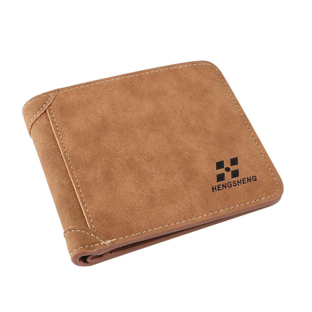 1 шт. модный мужской кошелек из искусственной кожи кошелек с двумя отделениями кошелек ID держатель для кредитных карт клатч двойные карманы для монет Портативный короткий кошелек