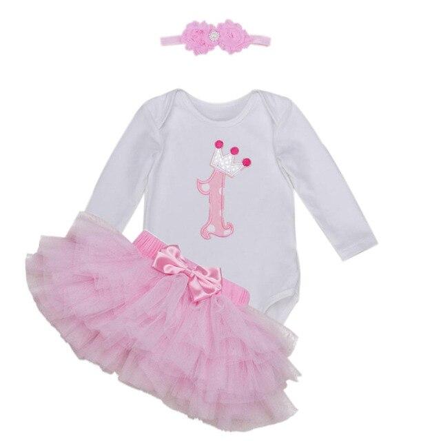 f34f3d9311c4 3PCs per Set White Pink Long Sleeves Baby Girl 1st Birthday Tutu ...