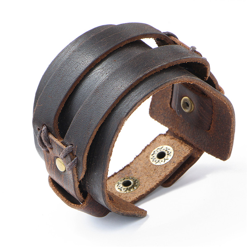 IF YOU Fashion Wide Double Layer Wrap wristband Leather Bracelet Homme Cuir For Men Fashion Casual Rock Cuff Armband Bracelets 5