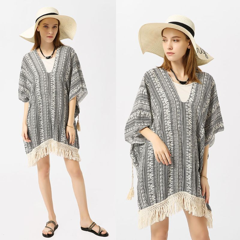 Womens Summer 3/4 Sleeves Pullover Swimsuit Cover Up Ethnic Geometric Stripes Printed Kimono Deep V-neck Crochet Long Tassels Tr Be Shrewd In Money Matters Women's Clothing