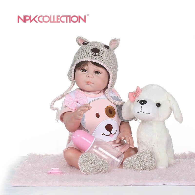 NPKCOLLECTION Bebe Reborn Puppen de Volle Silikon Mädchen Körper 50 cm adora Puppe Spielzeug Für Mädchen boneca Baby Bebe Puppe beste Geschenke spielzeug