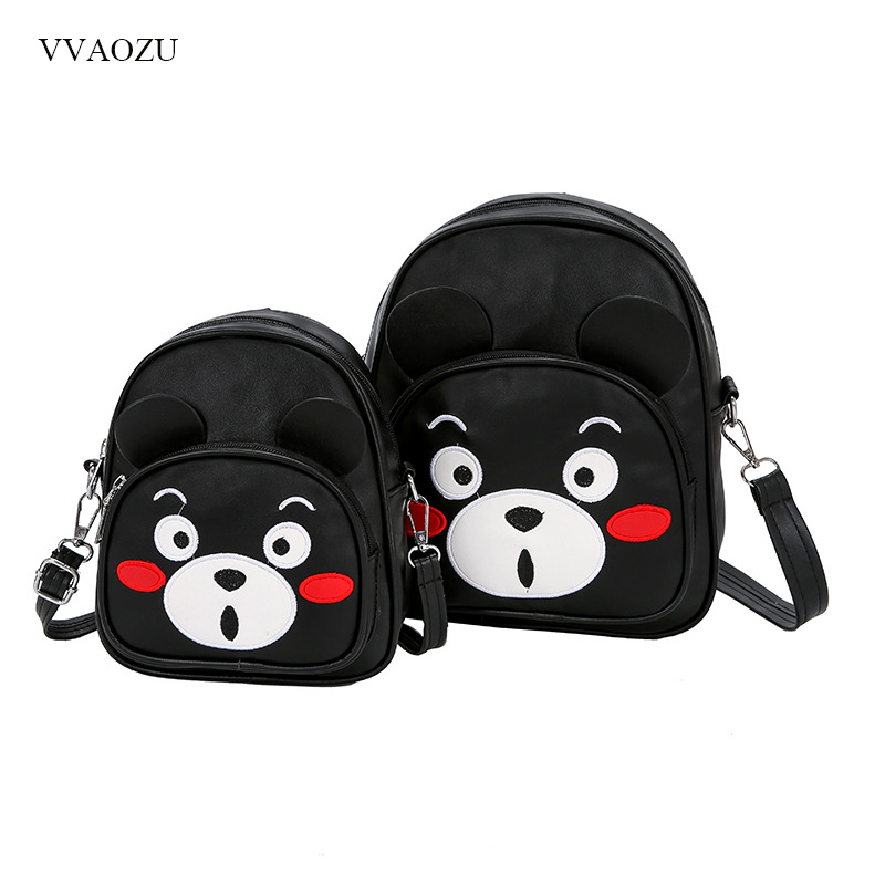 Kumamon Cartoon Cute Mini Daypack Women Handbag Children Shoulder Bag 3 Way Parent-child Messenger Bag Packsack Back Pack