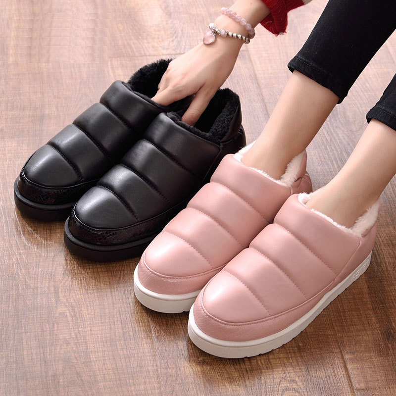 купить Winter Women Snow Boots Warm Shoes PU Waterproof Ankle Boots Flat Platform Nonslip Plush Ladies Shoes Female Indoor Boot ABT1058 онлайн