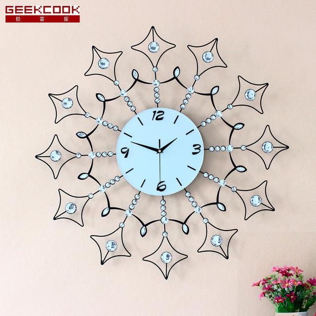 70X70CM Fashion Iron Wall Clock Modern Design Europe Art Wall Watch Large  Living Room Clock Wall