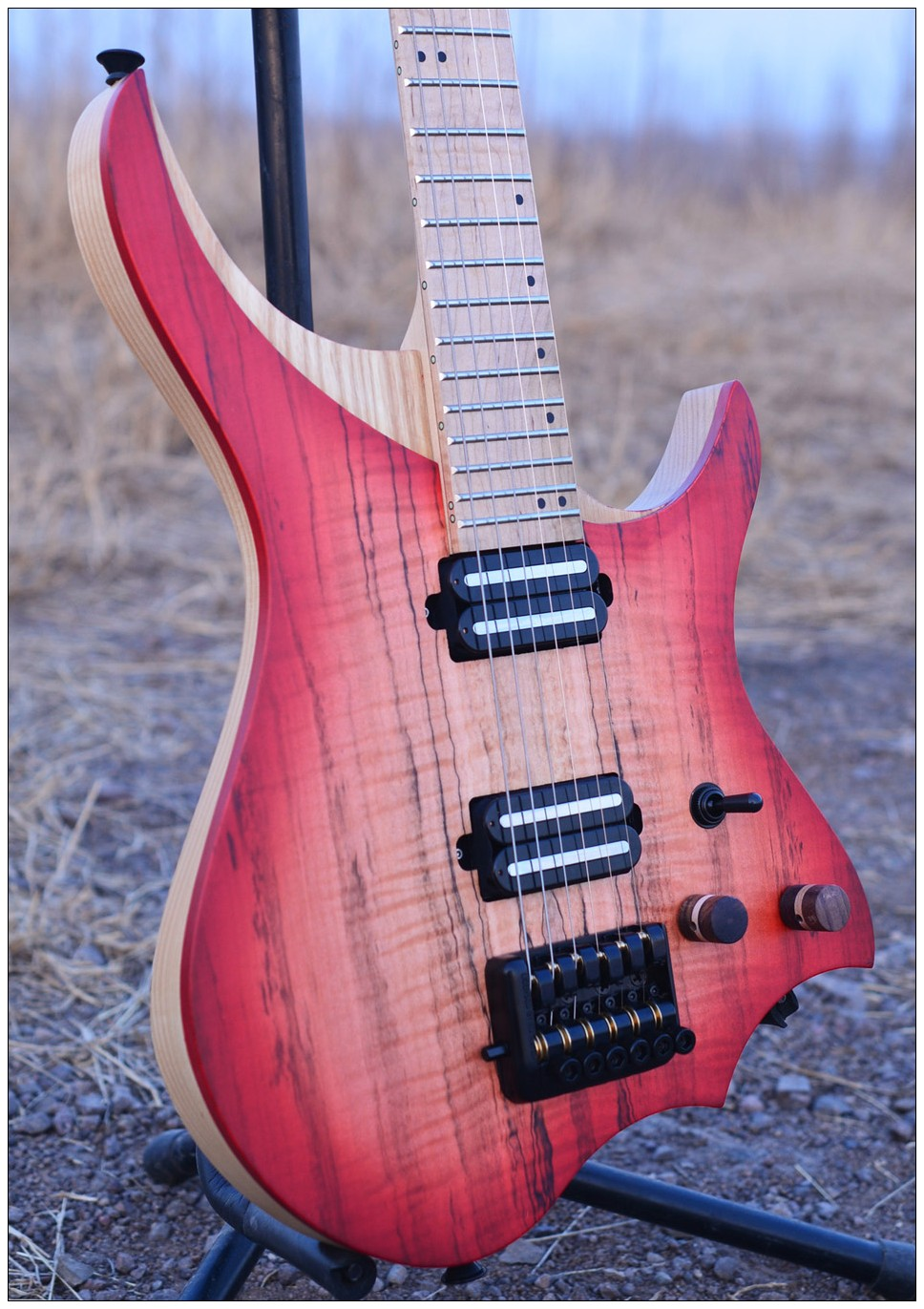 Headless Electric Guitar style Model red spalted curly maple top Flame maple Neck in stock free shipping
