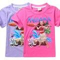 2017 Nova meninas T-shirt Dos Miúdos T camisas Do Bebê da menina dos desenhos animados moana Oceano Romance Crianças camisa de Manga curta 100% Algodão t topos
