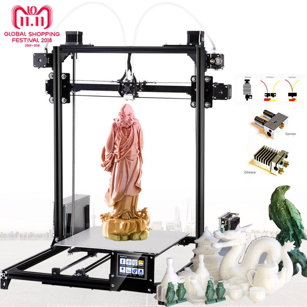 Flsun Large size 3d Printer 300x300x420mm Auto Level Touch Screen Daul Extruder DIY 3D Printer Kit Heated Bed Ship from Germany