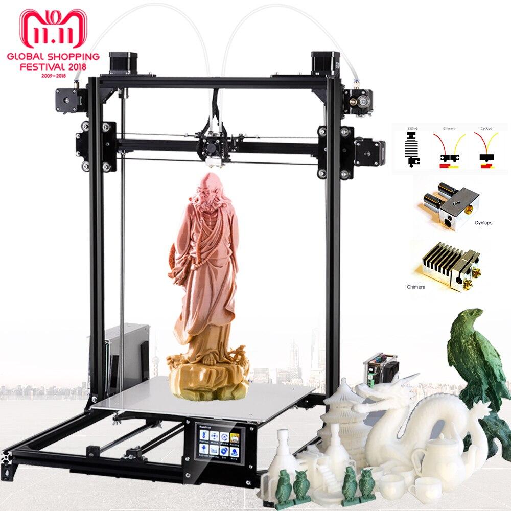 Flsun grande taille imprimante 3d 300x300x420mm niveau automatique écran tactile Daul extrudeuse bricolage 3D imprimante Kit lit chauffé navire d'allemagne