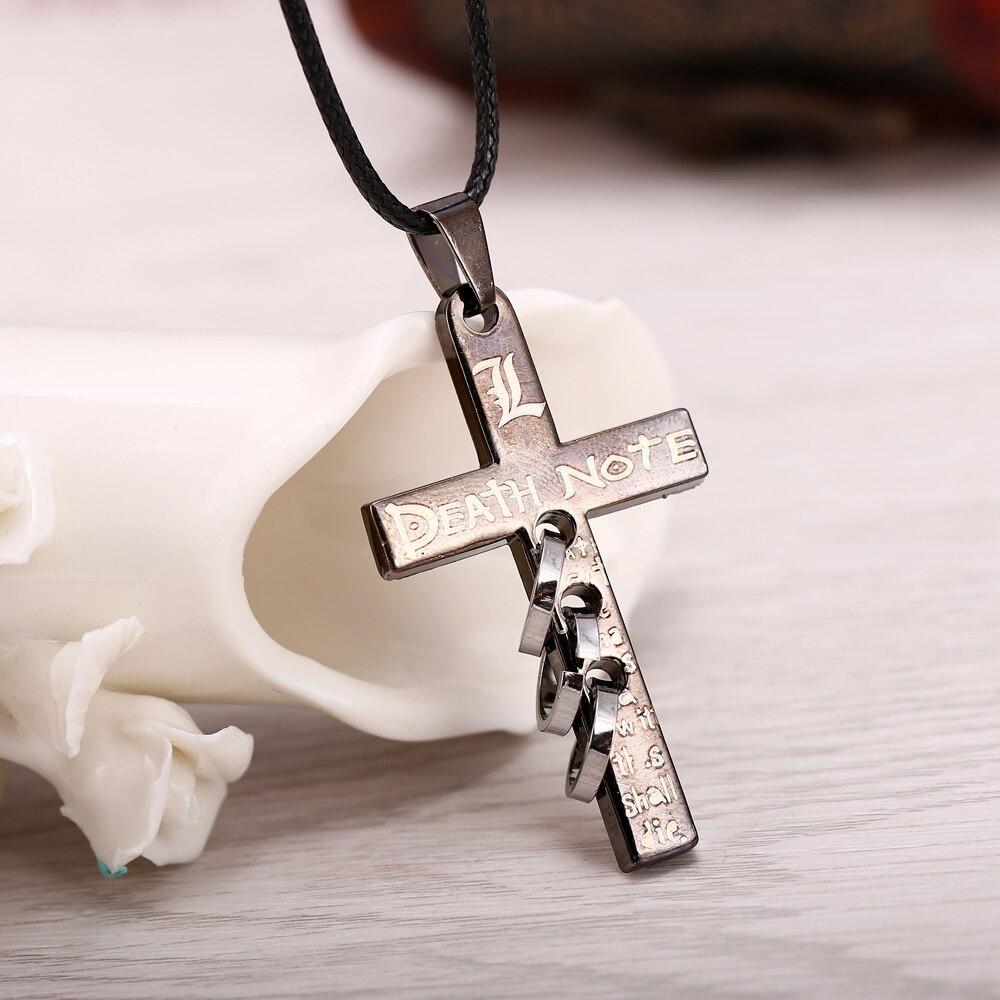 J R Store 20pcs lot Cross Logo Pendant Necklaces for Women Anime Death Note collares Necklace