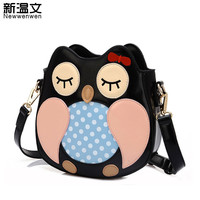 2018 Women bag Lovely Owl and Owl Hairball Women Messenger Bags Patchwork Campus Women Leather Handbags Leisure Shoulder Bags
