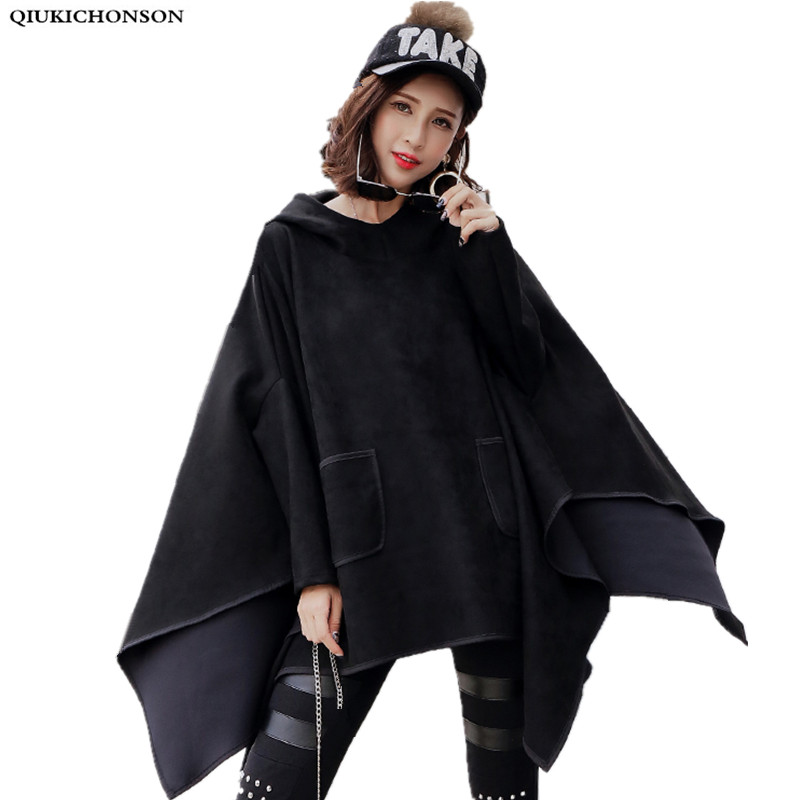 suede fabric womens hoodies 2018 autumn hippie style pockets design batwing cropped hoodie oversize black hoodie long sleeve top