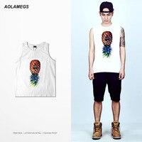 Aolamegs Tank Tops Men Dứa In Hip Hop Skateboard Tay Tops Tee High Street Tập Thể Dục Nhóm Đơn Vest Mens Thể Thao