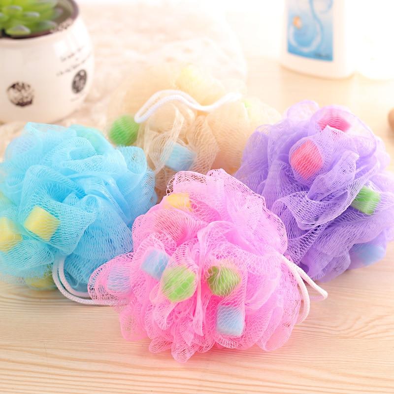 Cute Nylon Flower Bath Ball Bath Tubs Tool Bath Scrubber for Body Cleaning Shower Wash Bathroom Accessories Free shipping 110