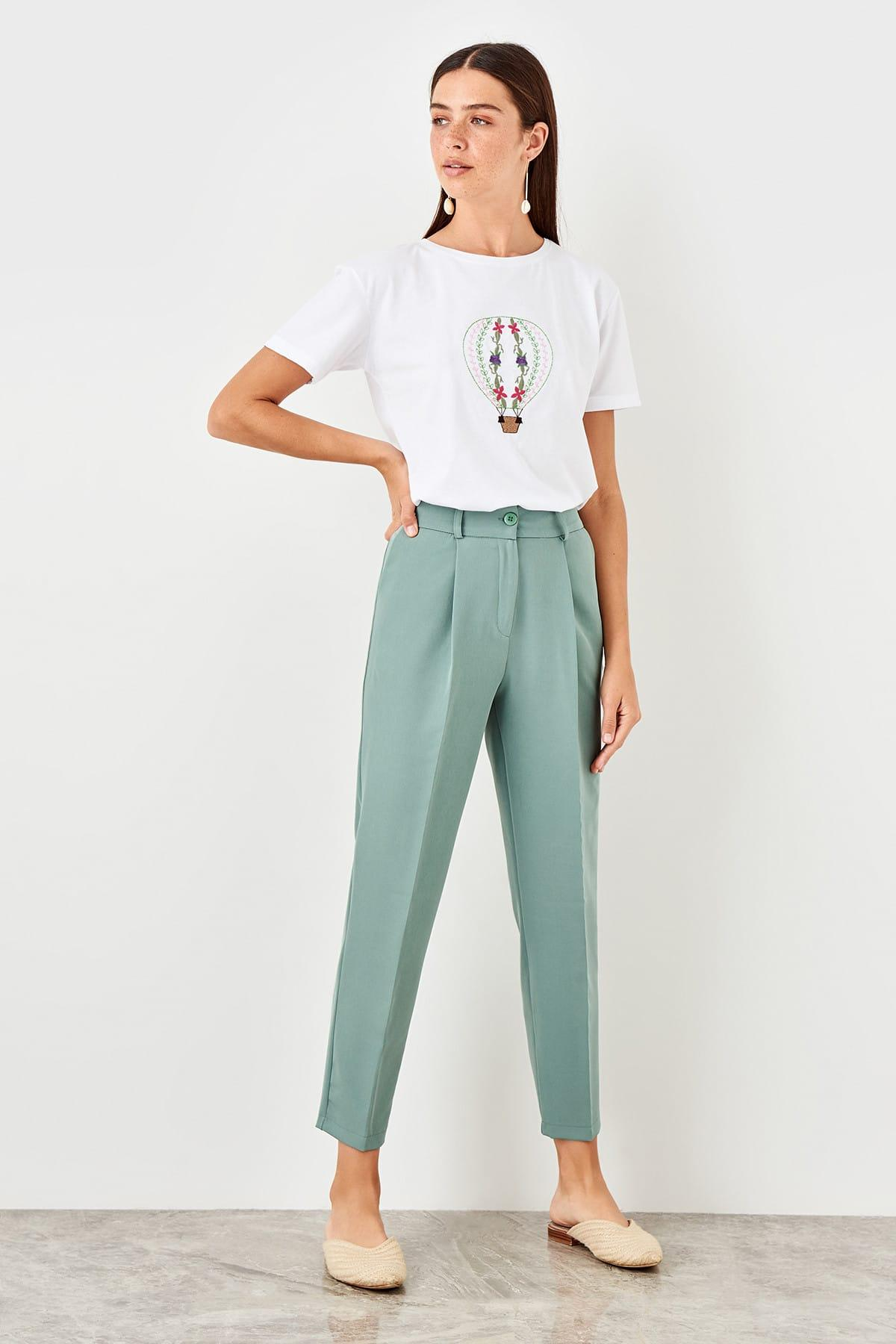 Trendyol Mint Belt Detaylu Pants TWOSS19XM0285