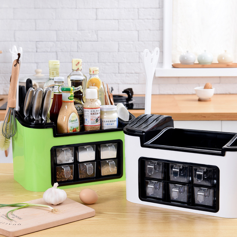 Multi-function Kitchen Storage rack Seasoning Box Tank Storage Racks Shelf Chopsticks Storage Box Kitchen tool accessories купить