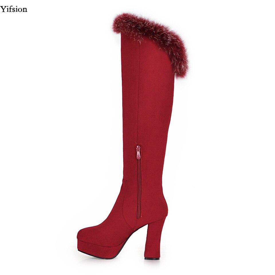 Bout Rouge Taille Black 5 forme Hauts Élégant Genou D0498 Nous Red 10 D'hiver Nouvelles Carré Chaussures Noir Hautes Rond Femmes Plate Bottes d0498 3 À Talons Yifsion waOCHW
