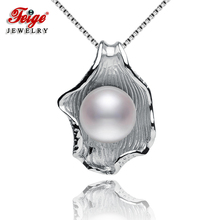 Fashion Jewelry Shell-shaped Pearl Pendants,9-10mm White Natural Freshwater Pearls,Pearl For Womens