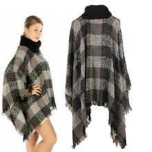 Ethnic Fusion Tartan Knitted Women Poncho Knit Turtle Neck Sweater Coat Outwear