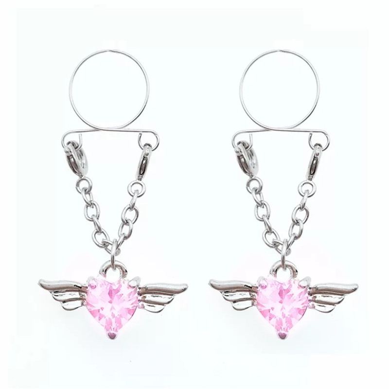 Red Wings Non Pierced Clip On Fake Nipple Ring Pink -9633