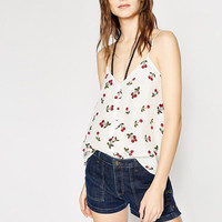100 Silk Sexy White Cami Top With Decoration Buttons Cherry Printed Summer Cute Crop Tops For