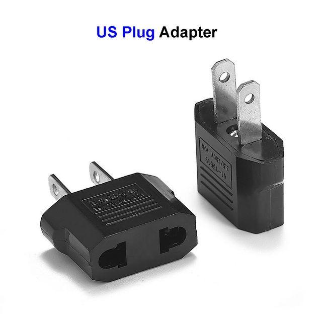 2pcs us japan plug adapter european eu to us american. Black Bedroom Furniture Sets. Home Design Ideas