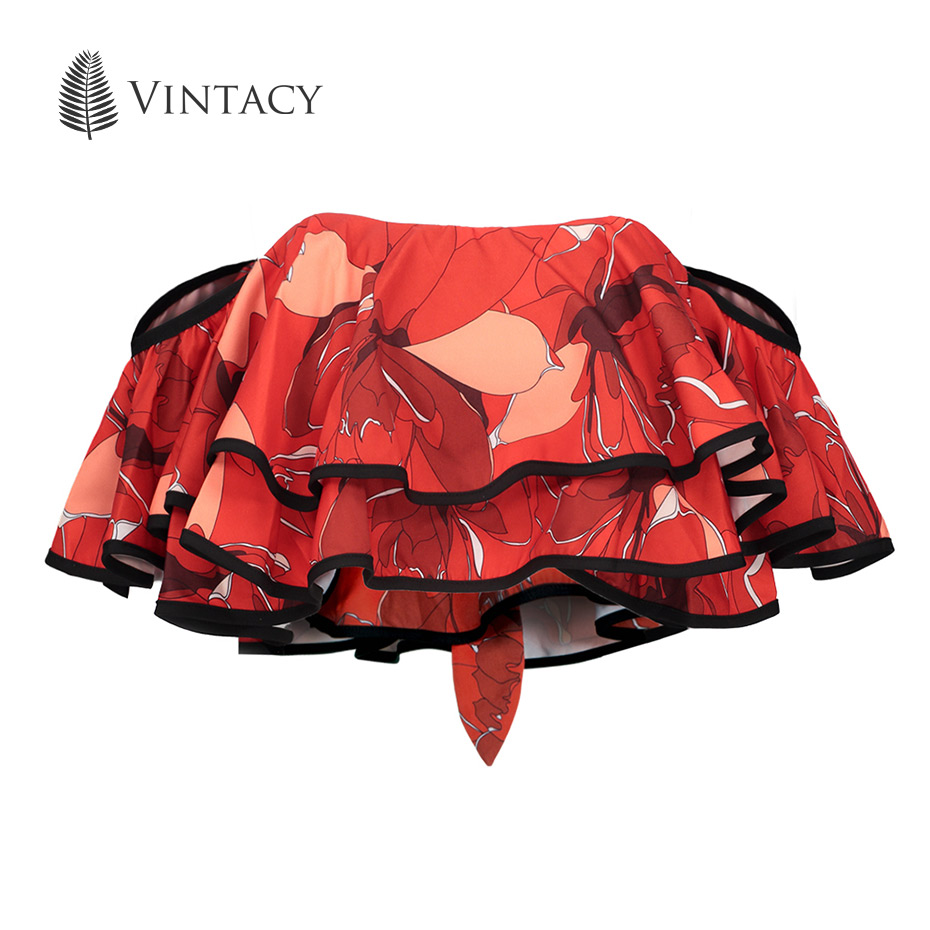 Vintacy Women Crop Top Sexy Slash Neck Off Shoulder Strapless Tank Female Red Print Floral Summer Ruffle Short Cropped Tank Top xmas white tank top 6th sparkle red birthday number print red snowflakes ruffles
