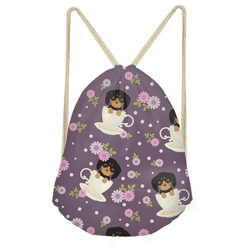 THIKIN Dachshund Pattern Drawstring Bags Labrador Corgi Cup Of Tea Print Women's Durable Daily Travel Bag Women Custom Backpacks