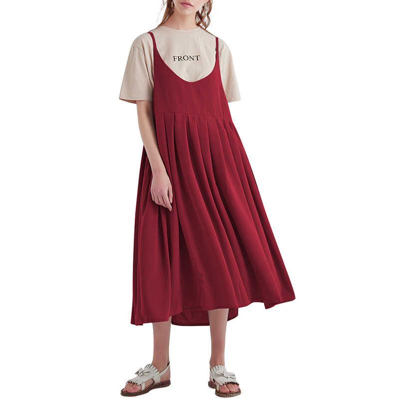 Anself 4XL 5XL плюс размер женские платья женское винтажное свободное Хлопковое платье на бретельках с высокой талией однотонные Повседневные платья Kpop