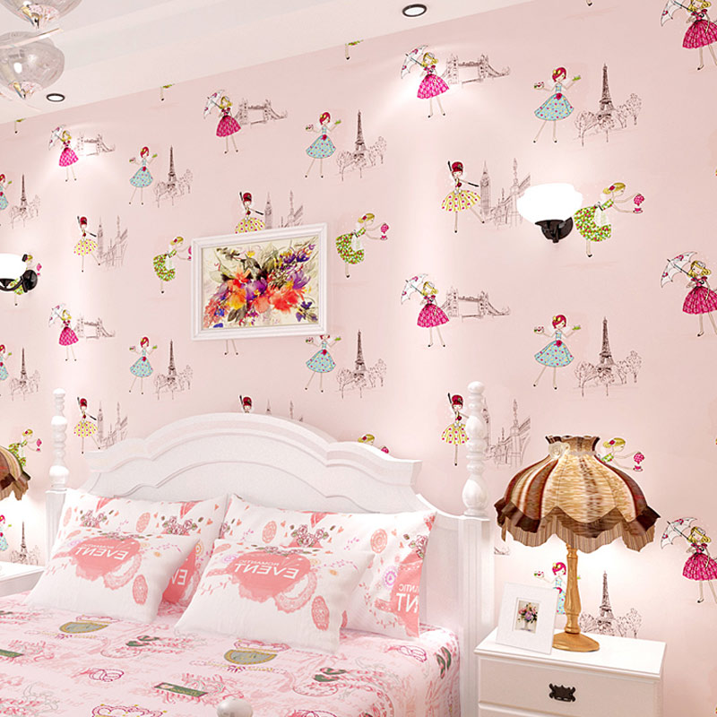 texture wall paris cartoon paper 3d princess ballet children mural background bedroom tower pink non printed covering wallpapers woven