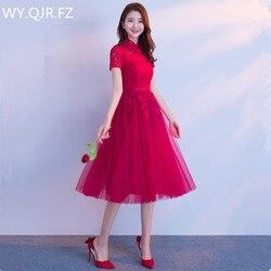 JYX79L # Fique coll manga curta lace up estilo de Médio longo vinho vermelho da noiva Da Dama de honra vestidos de festa de casamento do baile de finalistas vestido 2018