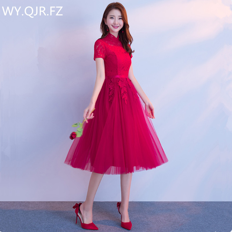 JYX79L#Stand coll short sleeve lace up Medium long style wine red Bride's   Bridesmaid     dresses   wedding party prom   dress   2018