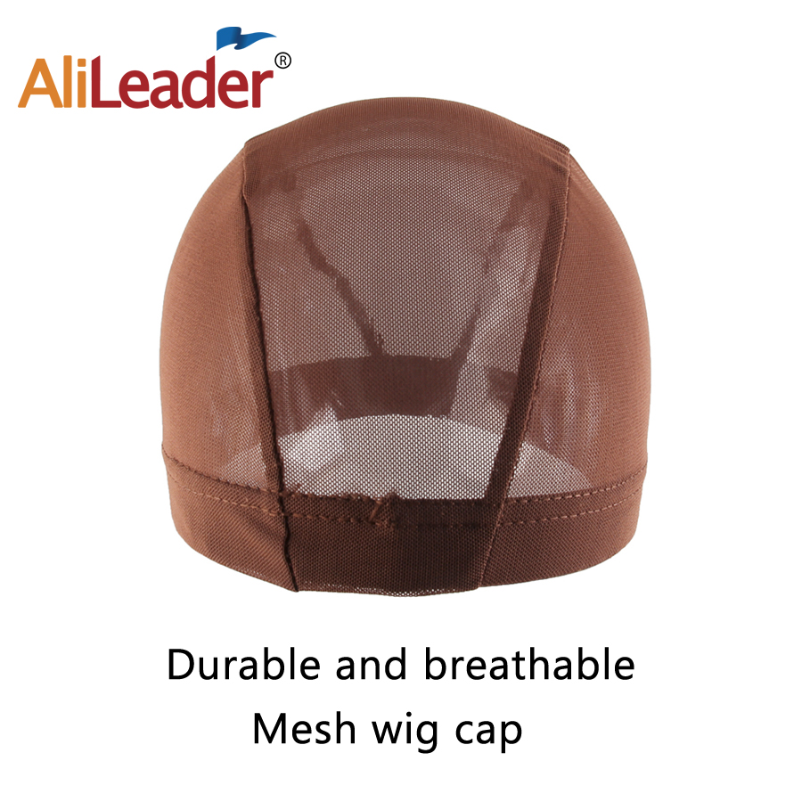 Alileader Brwon Black Brown Black Mesh Dome Cap Factory Supply Spandex Cap Wig Tolls Elastic Hair Net Weave Cap For Making A Wig