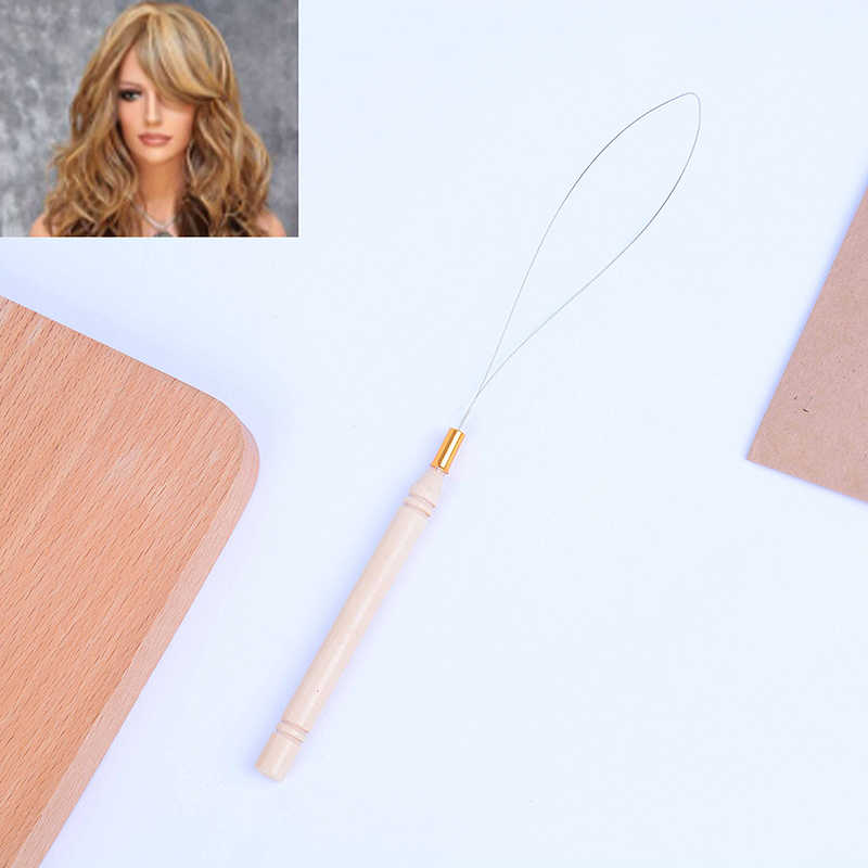 1PC Needle Threader Micro Rings Beads Loop High Quality Wooden Handle Hair Extension Hook Pulling Tool