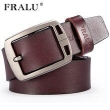 ФОТО fralu high quality mens genuine leather belt designer belts men luxury strap male belts for men vintage pin buckle for jeans