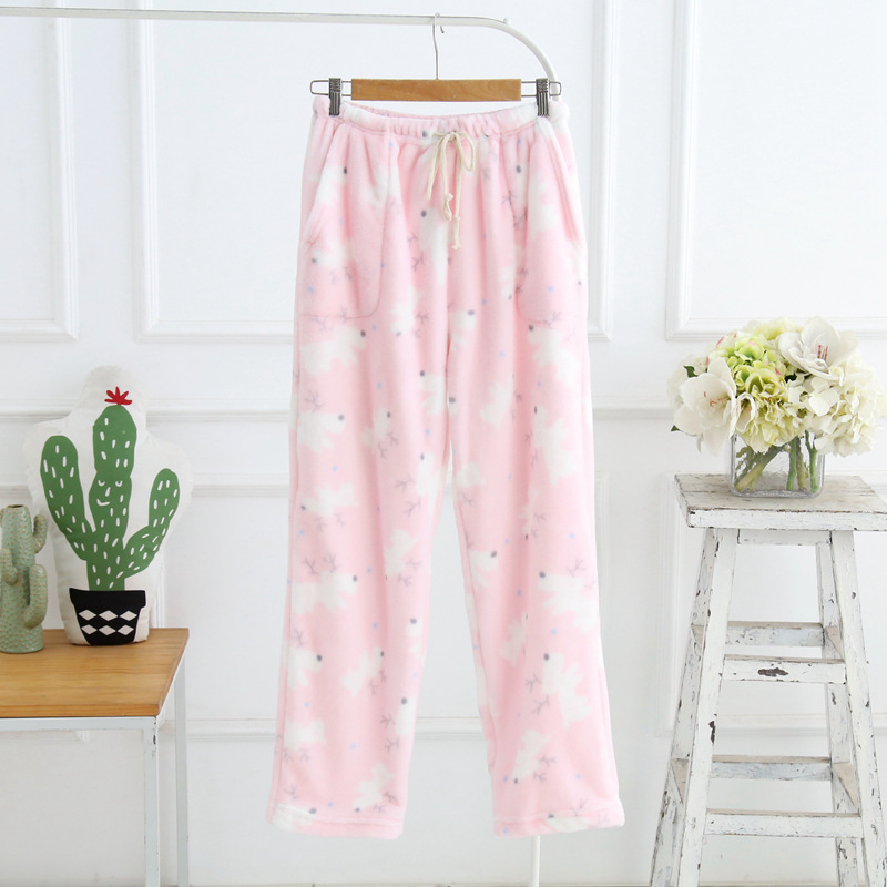 Winter Sleep Bottoms Flannel Fleece Pajama Pants Ladies Casual Trousers Floral Long Loose Lounge Homewear Women Plus Size XL  1