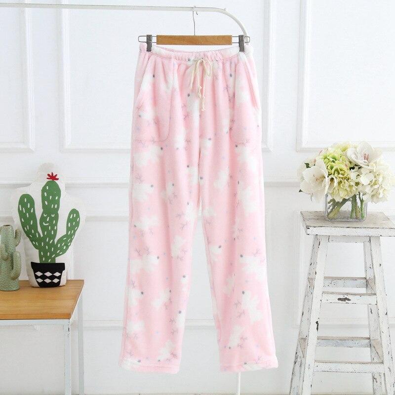 Winter Sleep Bottoms Flannel Fleece Pajama Pants Ladies Casual Trousers Floral Long Loose Lounge Homewear Women Plus Size XL  1