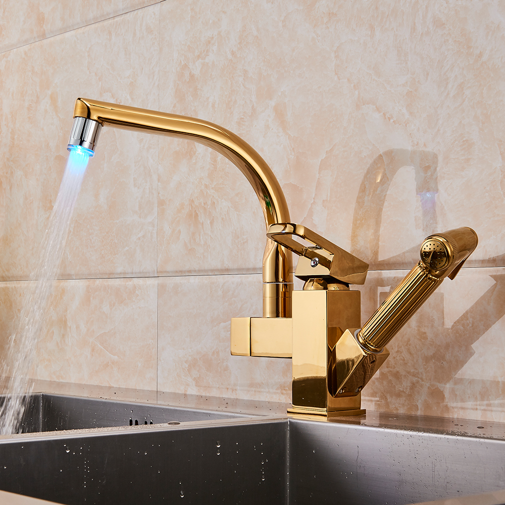 Gold led light kitchen faucet mixer tap single handle two swivel spouts kitchen hot cold water