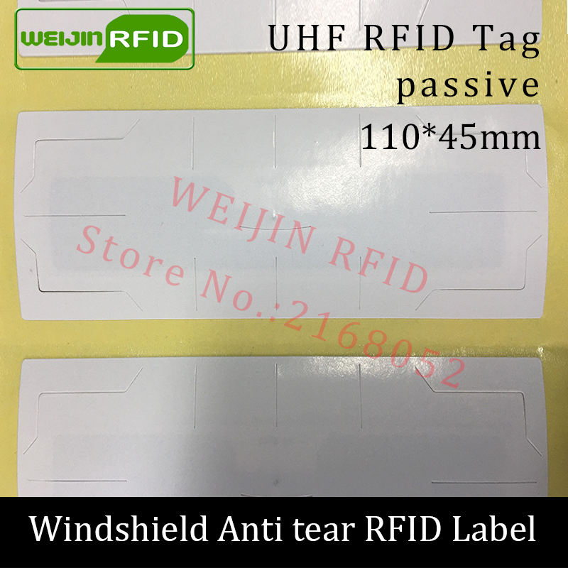 RFID tag UHF sticker vehicle windshield EPC 6C 915m 868m 860-960M Alien Higgs3 anti-tear adhensive passive printable RFID label rfid tire patch tag label long range surface adhesive paste rubber alien h3 uhf tire tag for vehicle access control