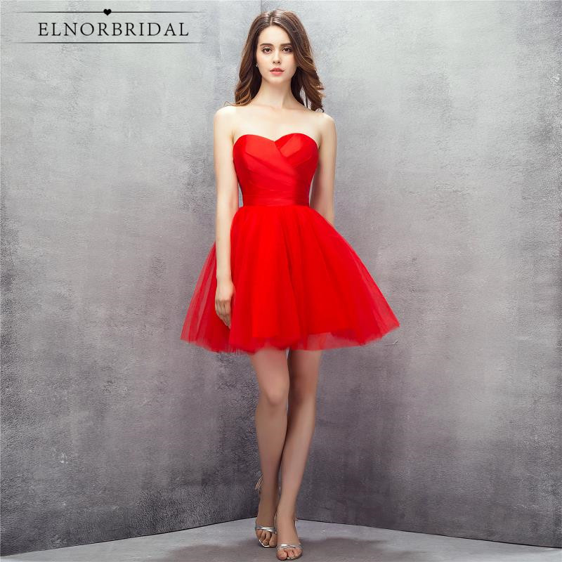 Elnorbridal Real Photo Cheap Red Short Prom Dresses 2017 Sweetheart ...