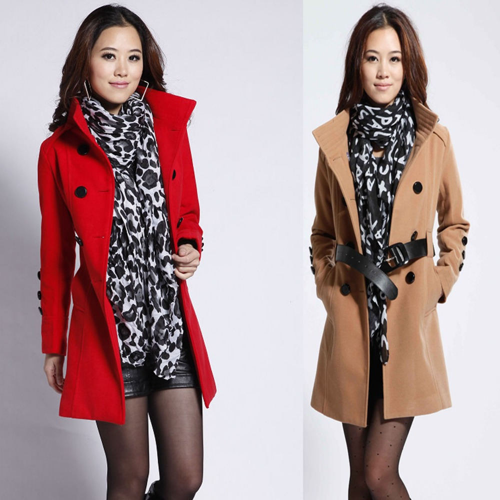 Woman Long Design Wool Coat Plus Size Clothing 2016 New Female Fashion Slim Thin Blends Trench