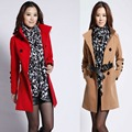 Woman Long Design Wool Coat Plus Size Clothing 2016 New Female Fashion Slim Thin Blends Trench Overcoat Spring Jacket ZL3459