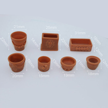 7Pcs 1/12 Dollhouse Miniature Accessories Mini Resin Flowerpot  Simulation Garden Flower Pot Model Toy for Doll House Decoration