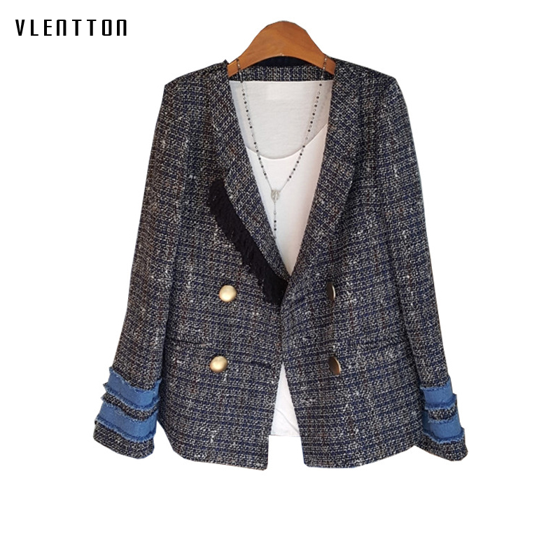 2019 Vintage Plaid Tweed Women's Jacket Coats Tassel Double Breasted Long Sleeve Loose Denim Spliced Jackets Coat Female Outwear