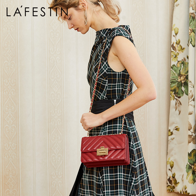 LA FESTIN Women bags 2019 new small Genuine Leather chain bag shoulder Crossbody bag for women
