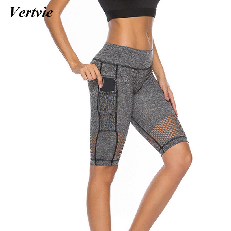 2018 Sexy Mesh Yoga Shorts With Phone Pocket Women Push Up